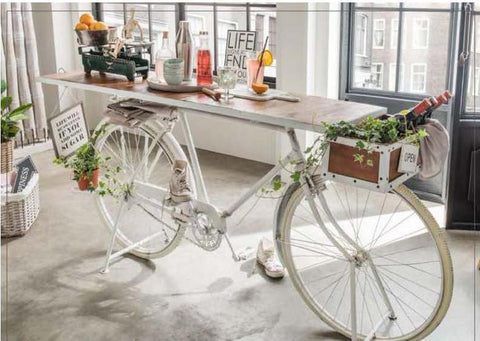 WHITE VINTAGE BICYCLE BAR Philbee Interiors