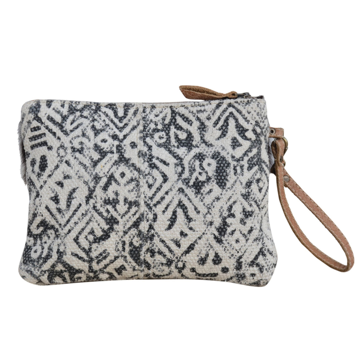 COWHIDE CANVAS ZIP CLUTCH BAG Philbee Interiors