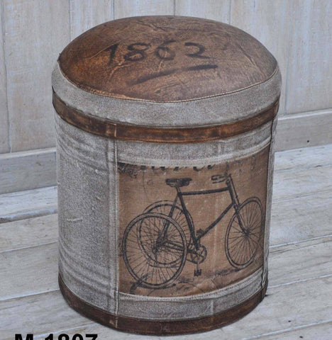 VINTAGE BICYCLE LEATHER AND CANVAS ROUND OTTOMAN Philbee Interiors