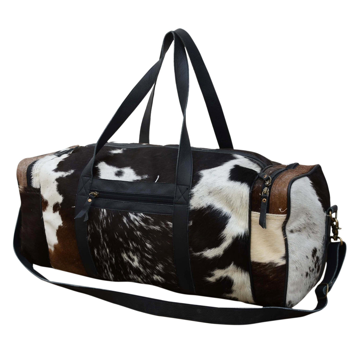 COWHIDE PATCH OVERNIGHT BAG Philbee Interiors