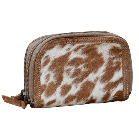 TAN COWHIDE DOUBLE ZIP PURSE Philbee Interiors