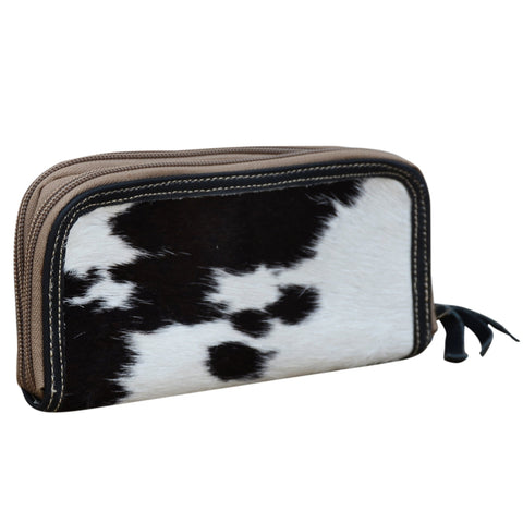 DARK COWHIDE DOUBLE ZIP PURSE Philbee Interiors