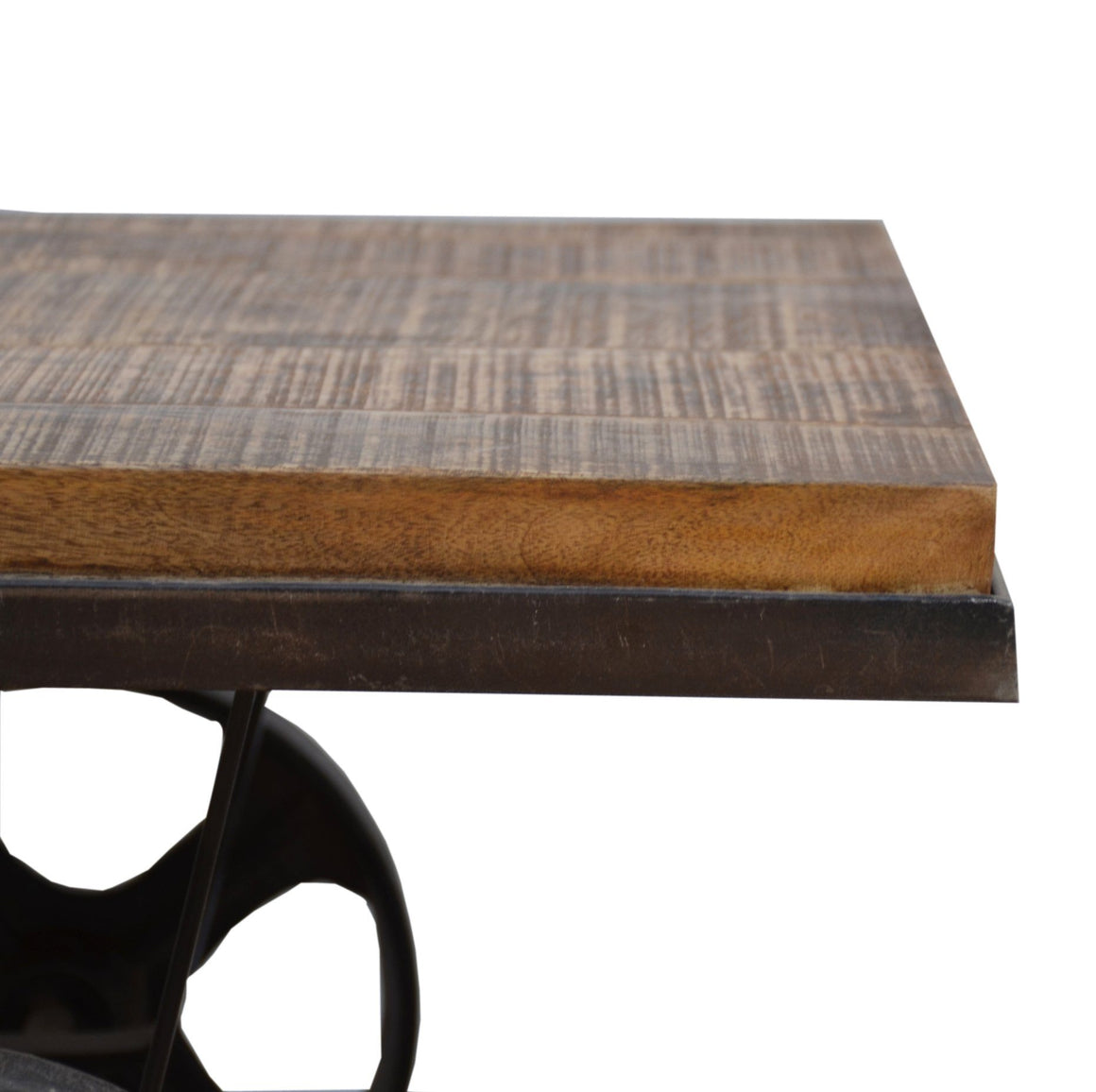 INDUSTRIAL COFFEE TABLE ON WHEELS Philbee Interiors