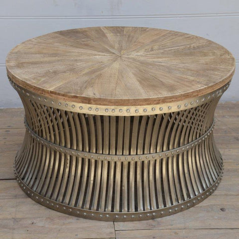 INVERTED IRON AND WOOD COFFEE TABLE Philbee Interiors
