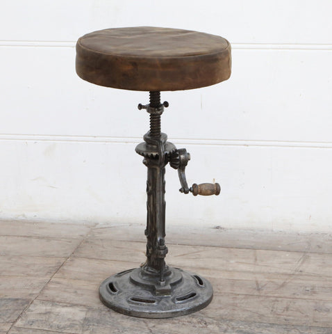 VINTAGE LEATHER WINDUP STOOL Philbee Interiors