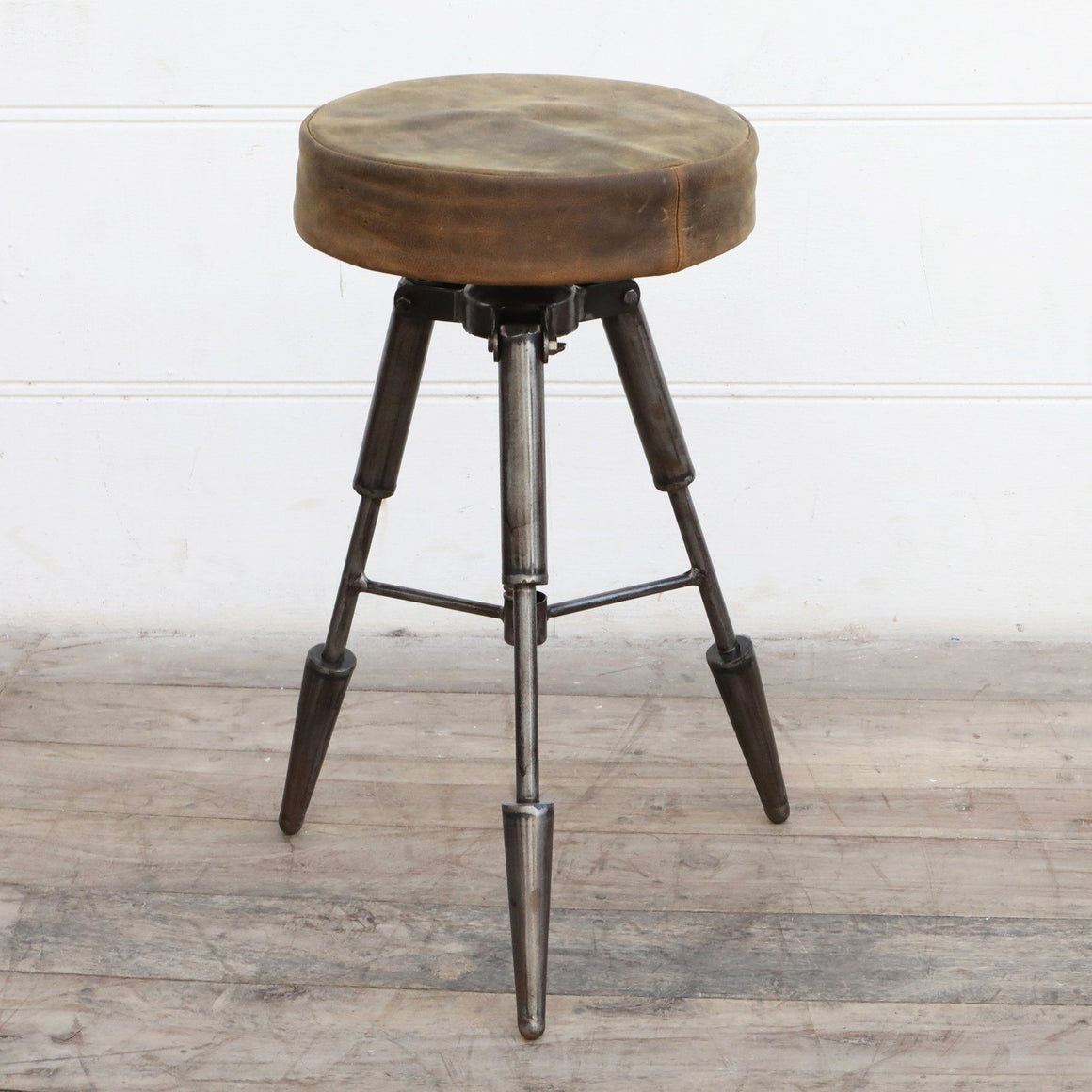 TRIPOD LEATHER STOOL Philbee Interiors