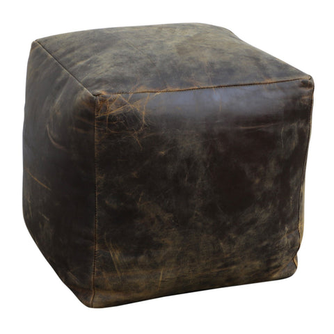 VINTAGE LEATHER OTTOMAN Philbee Interiors