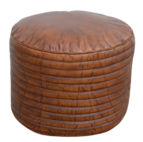 CARAMEL GROOVED LEATHER OTTOMAN Philbee Interiors