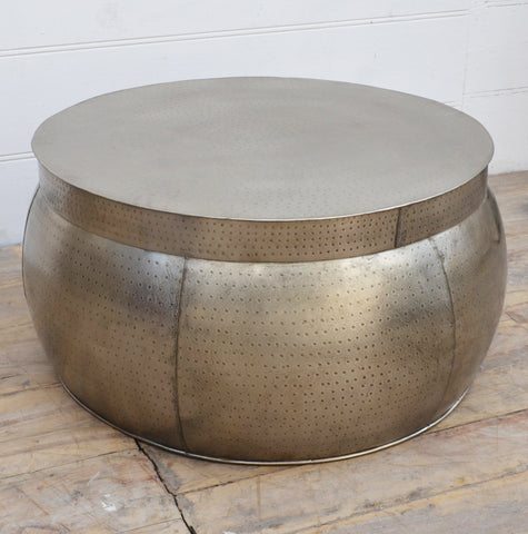 METAL DRUM COFFEE TABLE Philbee Interiors