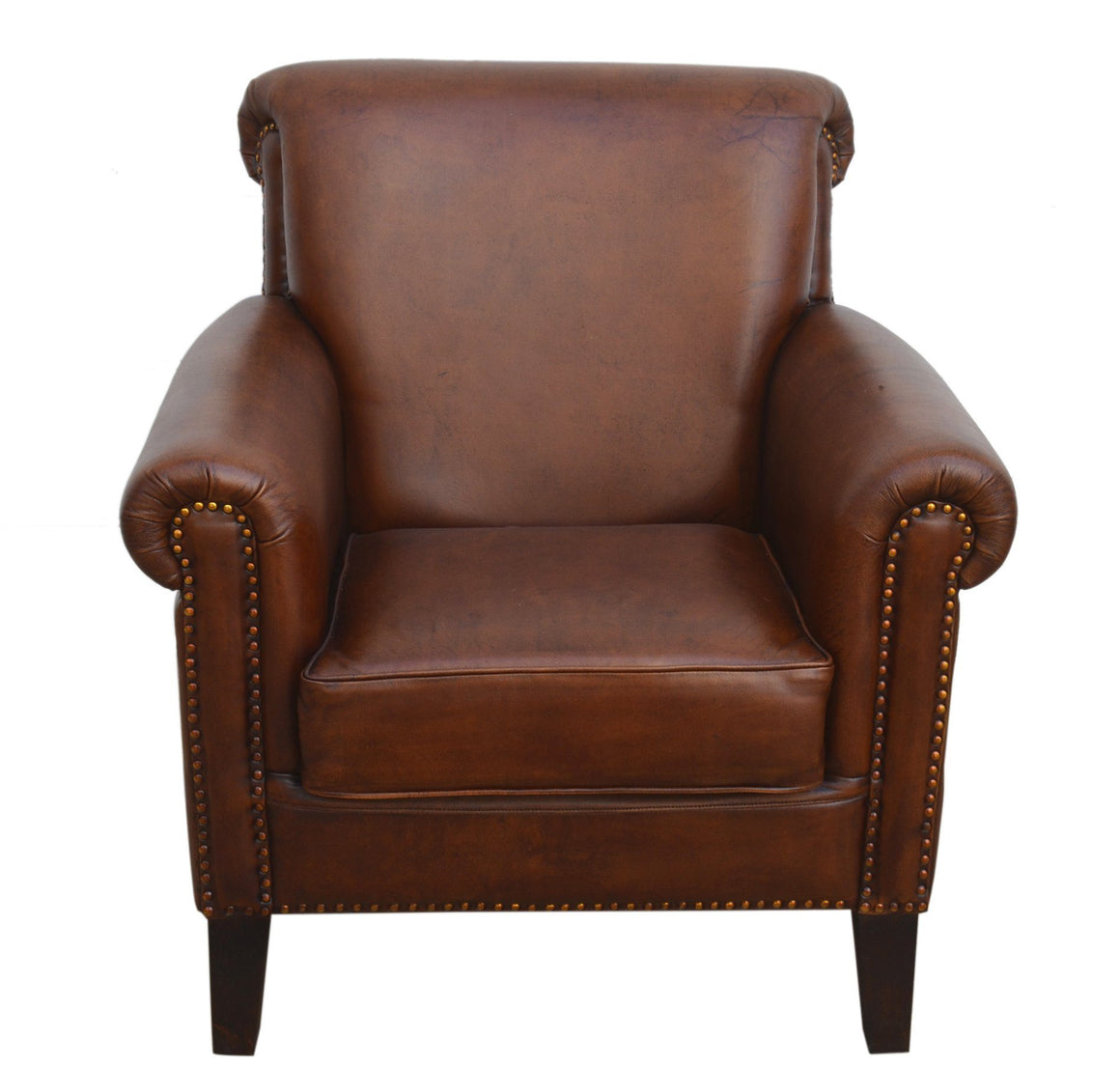DISTRESSED RICH BROWN LEATHER ARMCHAIR Philbee Interiors