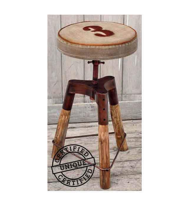 INDUSTRIAL NUMBER 3 WIND UP BAR STOOL Philbee Interiors