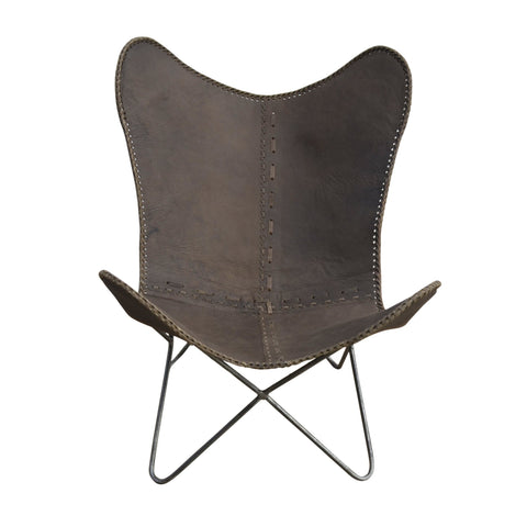 Brown Cow Leather Butterfly Chair -Below Cost Philbee Interiors