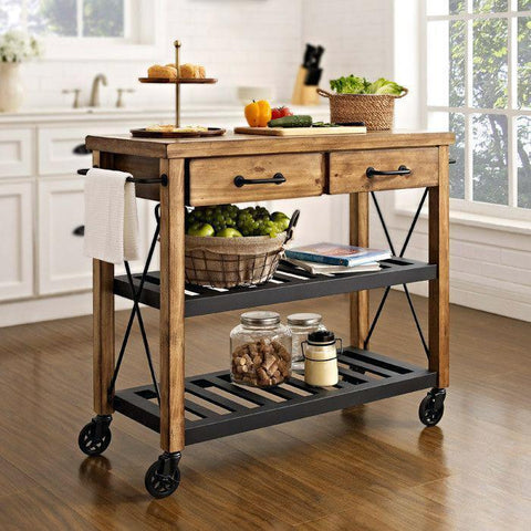 HARDWOOD BUTLERS TROLLEY ON WHEELS Philbee Interiors