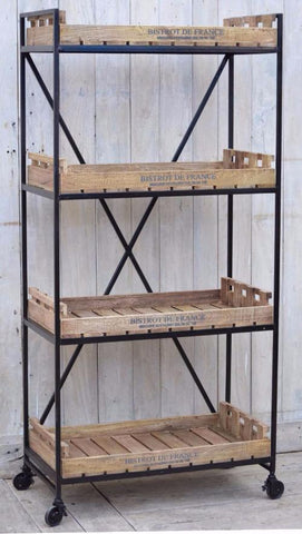 INDUSTRIAL BISTROT DE FRANCE BOOKCASE ON WHEELS Philbee Interiors