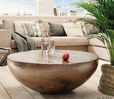 IRON DRUM COFFEE TABLE (COCONUT COFFEE TABLE) Philbee Interiors