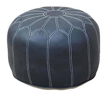MOROCCAN LEATHER OTTOMAN BLACK Philbee Interiors
