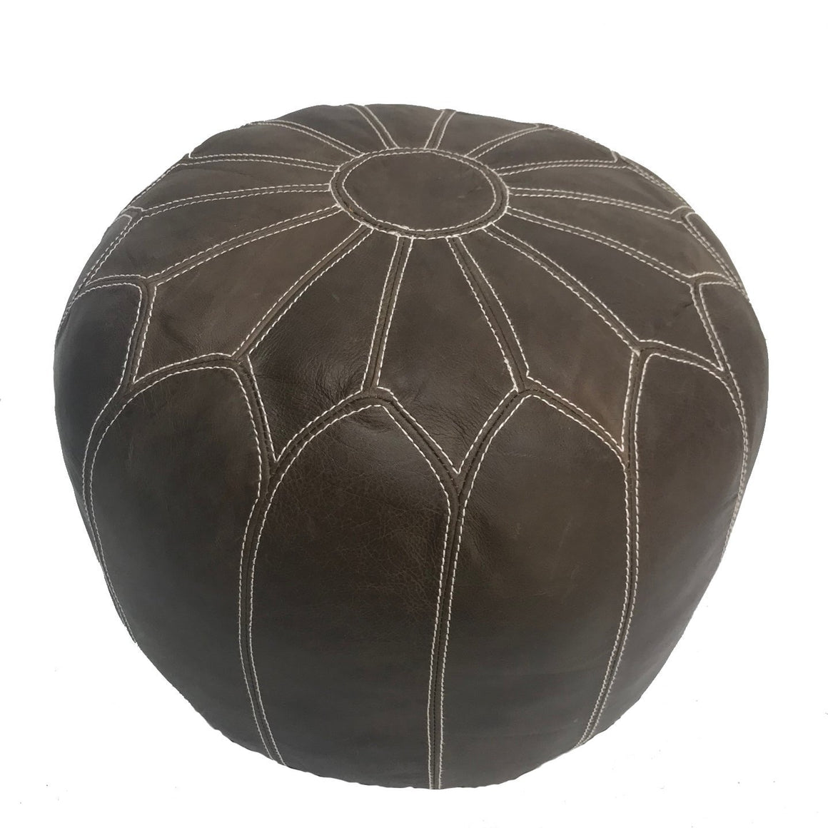 MOROCCAN LEATHER OTTOMAN BROWN Philbee Interiors