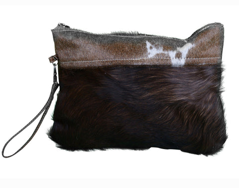 CLASSIC COWHIDE ZIP CLUTCH BAG Philbee Interiors