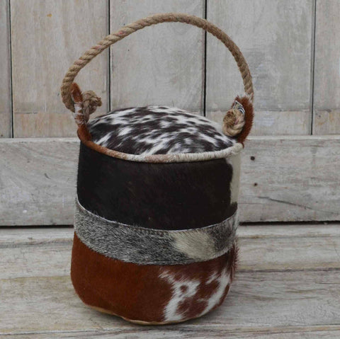CYLINDRICAL COWHIDE SWATCH DOOR STOPPER Philbee Interiors