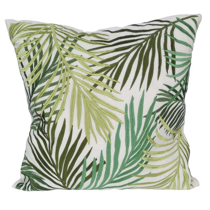 GREEN HUES EMBROIDERED SQUARE FERN CUSHION Philbee Interiors