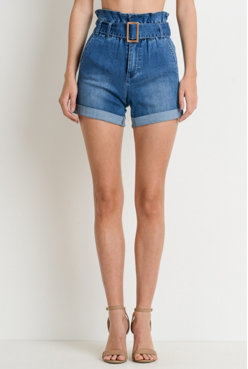 Lacy Paper Bag Denim Shorts