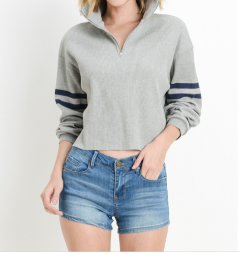 Cropped Thermal Pullover