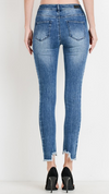 Panel High Waist Ankle Skinny Jeans