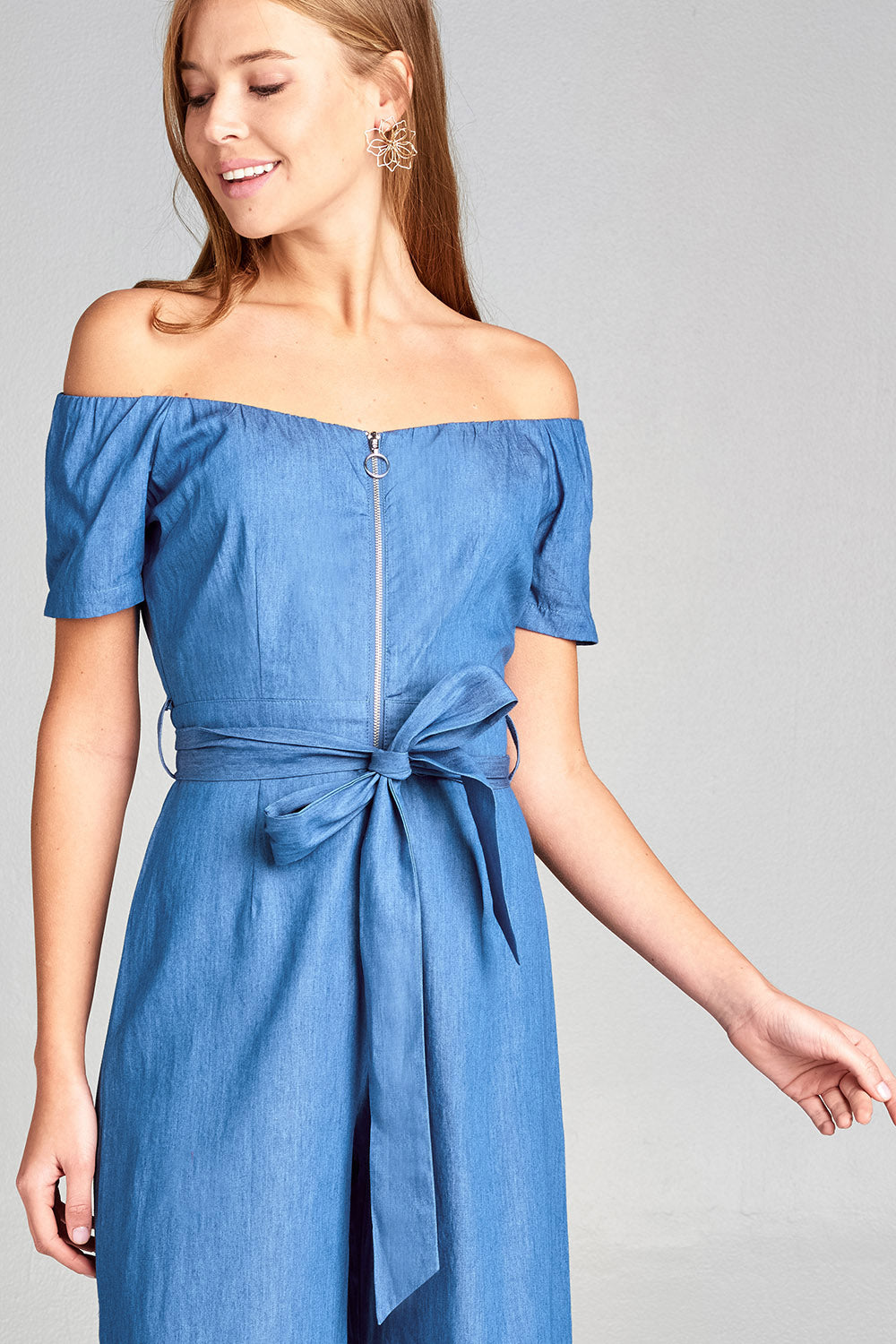 Chambray off shoulder jumpsuit