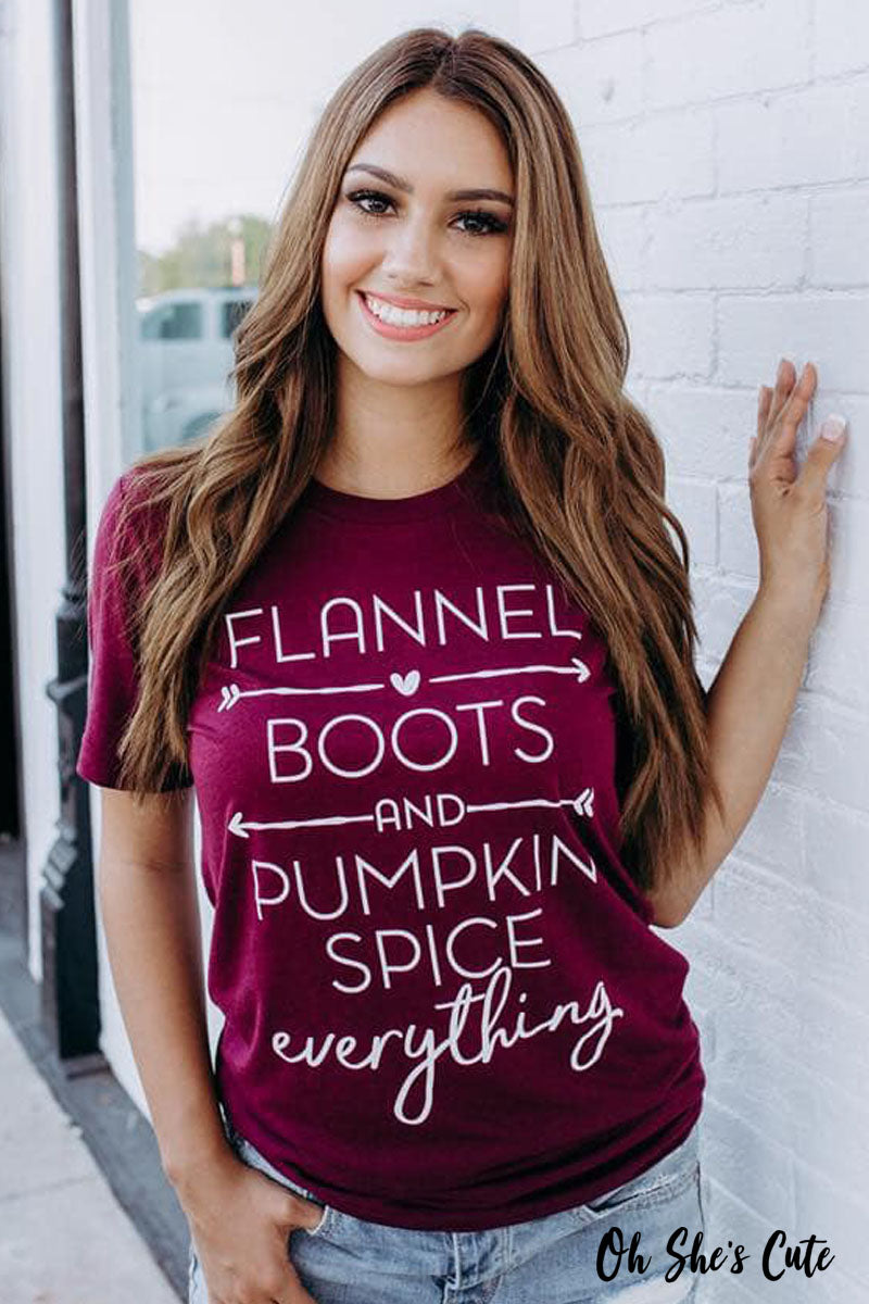Flannel Boots & Pumpkin Spice Everything Tee