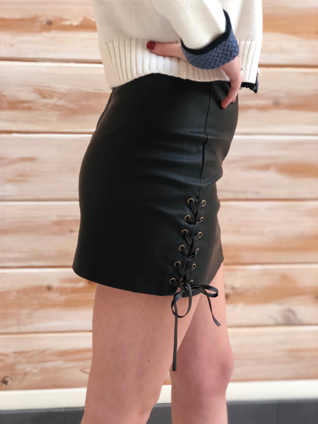 Faux leather side laced high waist skirt