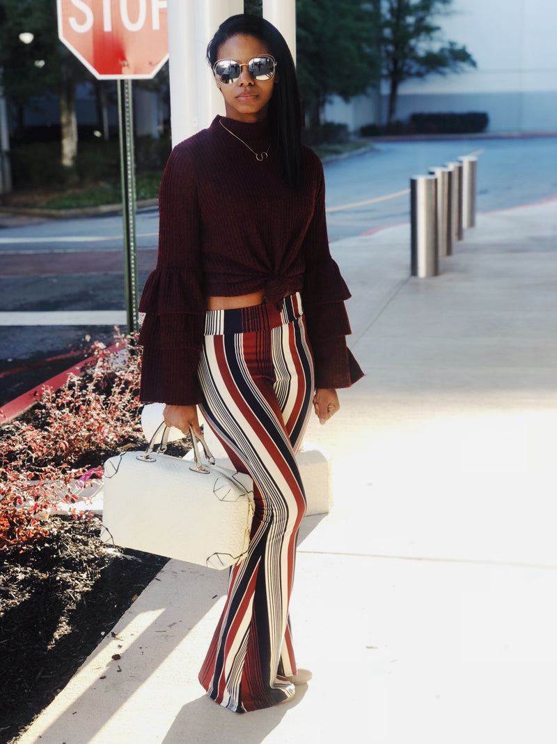 Burgundy Striped Knit Bell Bottoms