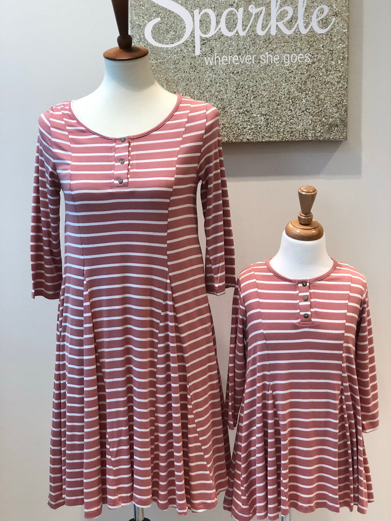 Pink Striped Mommy & Me Tunic Dresses (Sold Separately)