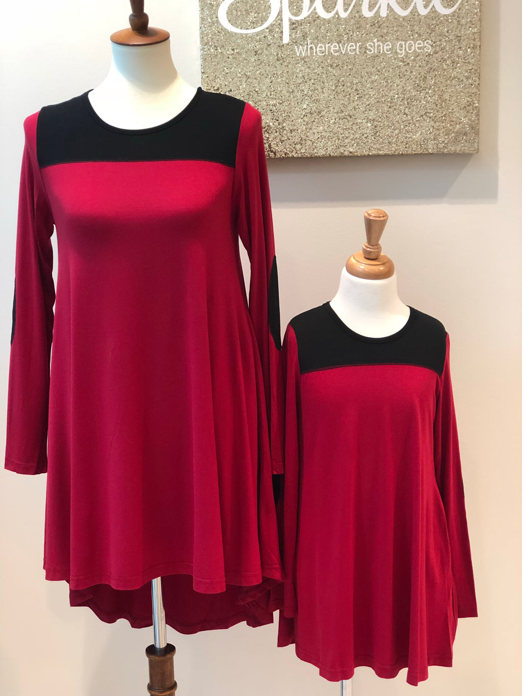 Red & Black Mommy & Me Tunic Dresses