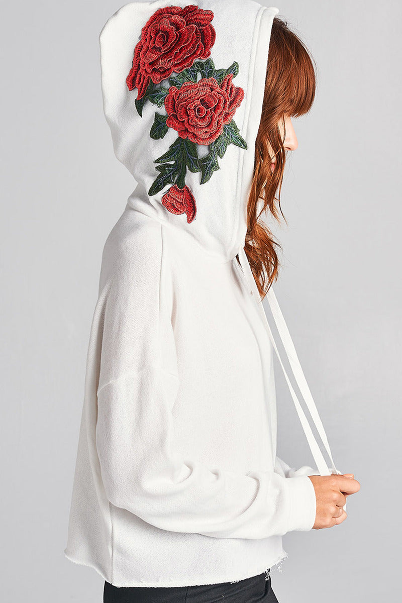French Terry Rose Cropped Hoodie