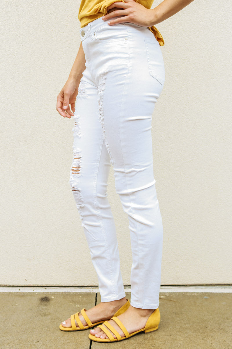 Jena White High Rise Destroyed Skinny Jeans