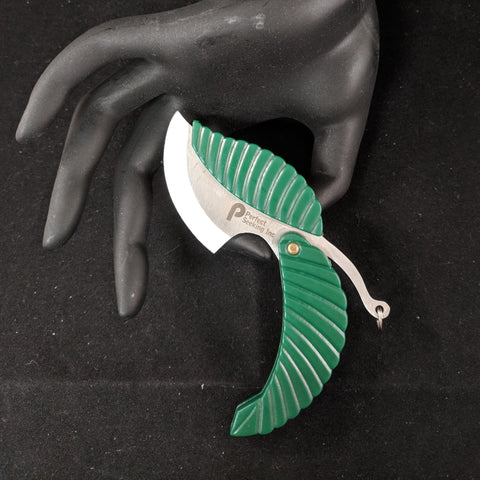 Green Leaf Stainless Steel Folding Pocket Keychain Knife