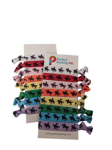 Horse Riding Silhouettes Girls Hair Elastics Ribbon Ties (2 Cards,16 Hair Ties)
