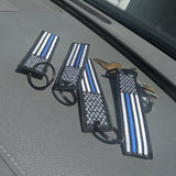 4 Blue Line American Flag Keychain Tags with Key Rings Double Sided