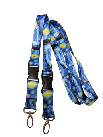 Starry Night Neck Lanyards keychains (2 Packs) Van Gogh Themes Gift Name Tags