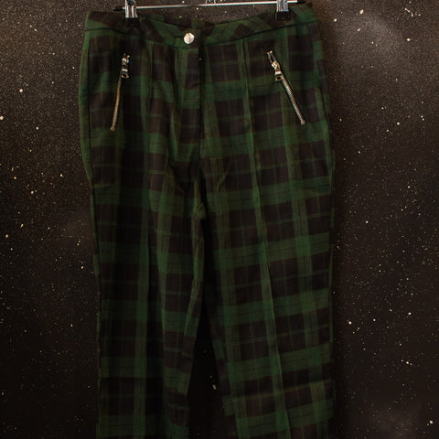 Green Cropped Check Pants