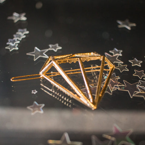Diamond hair pin - gold