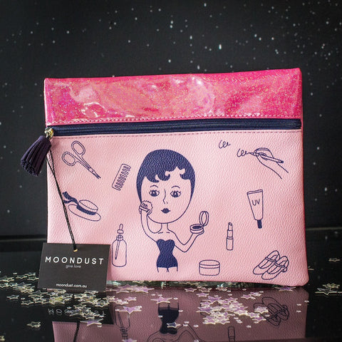 Japanese Print clutch bag - pink