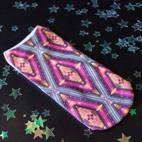 Purple Kaleidoscope Print ankle socks