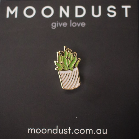 Succulent (Stripy Pot) enamel pin