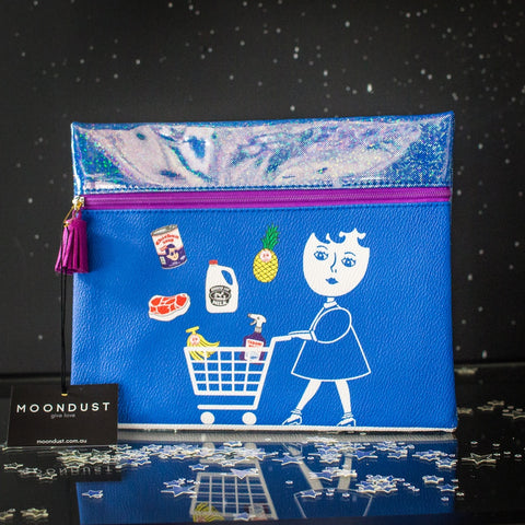 Japanese print clutch bag - blue