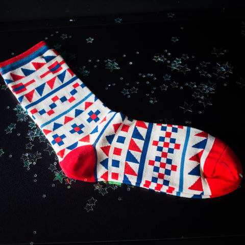 Red & Blue Geometric socks