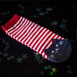 Cat stripy socks - red
