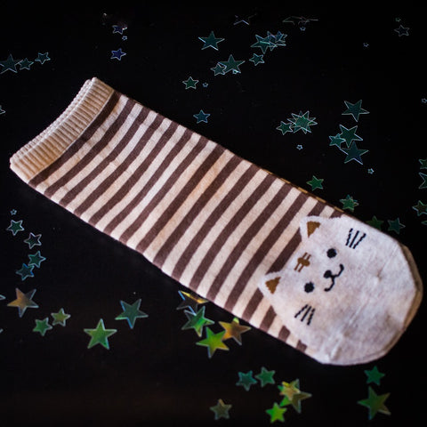 Cat stripy socks-brown