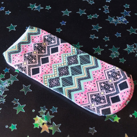 Pink/Black/Green Graphic Print ankle socks