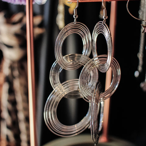 Maxi Silver Linked Hoop earrings